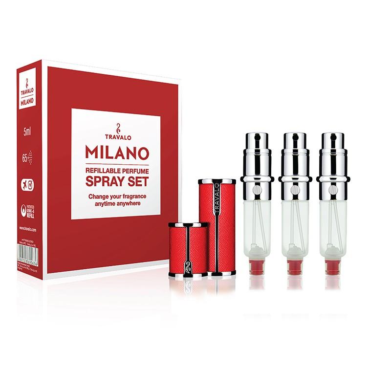 Travalo Milano Spray Set - 1 Case + 3 Engines - Red